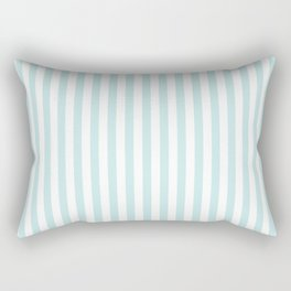 Duck Egg Pale Aqua Blue and White Wide Thin Vertical Deck Chair Stripe Rectangular Pillow