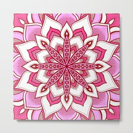 Mandala Flower : Pink Metal Print