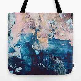 Breathe Again: a vibrant mixed-media piece in blues pinks and gold by Alyssa Hamilton Art Tote Bag