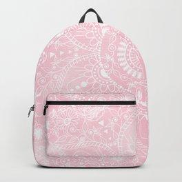 Elegant White Mandala Flower Pink Watercolor Design Backpack