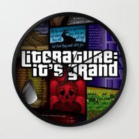 grand theft auto Wall Clocks featuring Grand Theft Literature by Mitul Mistry