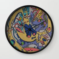 bookworm Wall Clocks featuring Bookworm by Art Fitzgerald