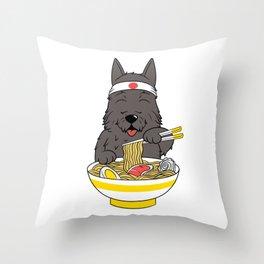 Scottish Terrier Eating Ramen  Throw Pillow