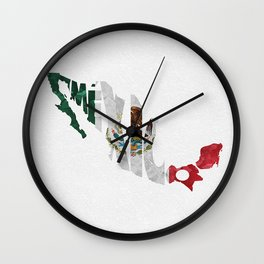 Mexico Typographic Flag Map Art Wall Clock
