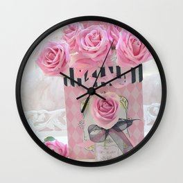 Pink Roses Romantic Pink Roses Pink and Black Floral Art Home Decor Wall Clock