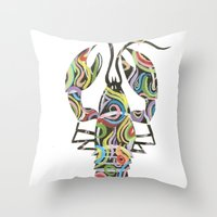 lobster Throw Pillows featuring Lobster by Kate Allison