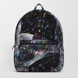A Hard Rain Is Gonna Fall (Man with Umbrella) Colorful Rain portrait painting Backpack