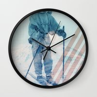 husky Wall Clocks featuring Husky Exploration by Chase Kunz