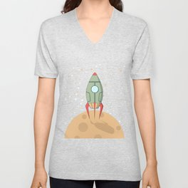 A retro rocket Unisex V-Neck