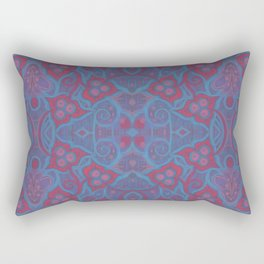Pink berries, bohemian style, floral pattern, arabesque in blue and pink colours Rectangular Pillow