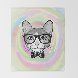 Black White Cat Hipster and the Watercolor Rainbow Circle Throw Blanket