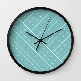 Abstract geometric lines soft turquoise Wall Clock