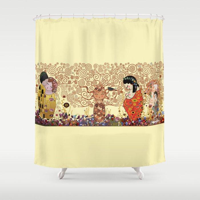 Kokeshis Klimt Shower Curtain By Pendientera