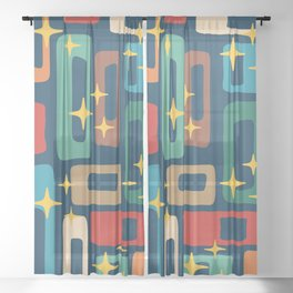 Retro Mid Century Modern Abstract Pattern 221 Sheer Curtain