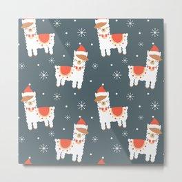 cute cartoon llama with santa hat christmas seamless pattern background with snowflakes Metal Print