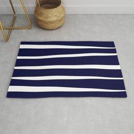 Blue- White- Stripe - Stripes - Marine - Maritime - Navy - Sea - Beach - Summer - Sailor 4 Rug