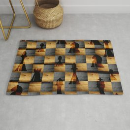 Wooden Chessboard and Chess Pieces  pattern Rug