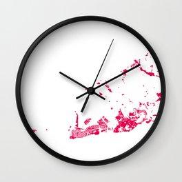 key west map raspberry Wall Clock