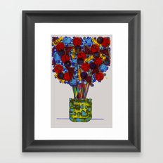 Geometric Flowers Framed Art Print