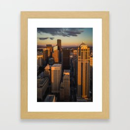 Downtown Seattle Sunset Framed Art Print