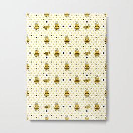 Bee Nice Pattern Metal Print