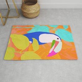 tropical toucan, orange Rug