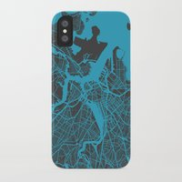 boston map iPhone & iPod Cases featuring Boston map by Map Map Maps