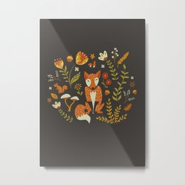 Fox in an Autumn Garden Metal Print
