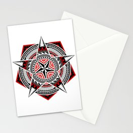 Geometric Shapes, Pentagon, Five Pointed Star And Circles, In Mixed Styles Of Thai Art, Polynesian Art, Mandala Art, Black And Red. Stationery Cards