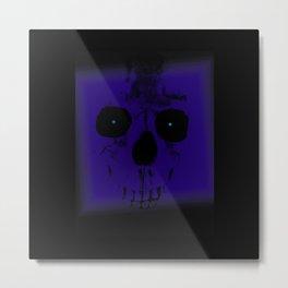 Blue Skull on Black Metal Print