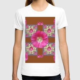 COFFEE BROWN CERISE HOLLYHOCKS BUTTERFLY DESIGN T-shirt