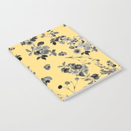 Black and White Floral on Yellow Notebook