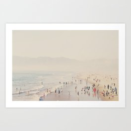 standing on the top of the world ... Santa Monica beach in winter Art Print