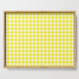 Buffalo Plaid Check Pattern Pantone 2021 Color Of The Year Illuminating and White Serving Tray