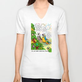 Parrots and Christmas tree Unisex V-Neck
