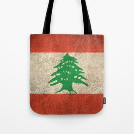 Old and Worn Distressed Vintage Flag of Lebanon Tote Bag