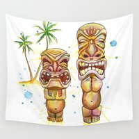 tiki Wall Tapestries featuring Freaky Tiki by Sam Nagel