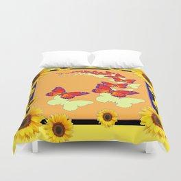Monarch Butterflies Sunflowers Cumin Color & Yellow Art Duvet Cover