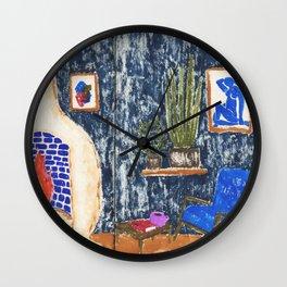 Colorful Living Room drawing by Amanda Laurel Atkins Wall Clock