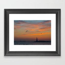 Statue of Liberty @ Sunset Framed Art Print