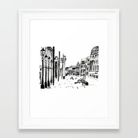 cityscape Framed Art Prints featuring CITYSCAPE by hawwa a