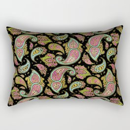 Pink and Blue glitter Gold Paisley  on black Rectangular Pillow