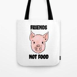 Cute Pig Vegan Friends Not Food Illustration Tote Bag