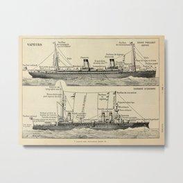Steam Ship Vintage Scientific Illustration French Language Encyclopedia Lithographs Educational Metal Print