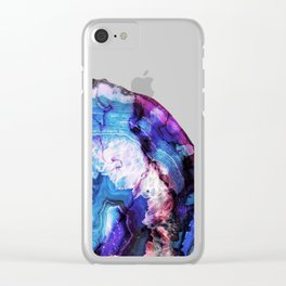 Blue purple agate stone transparent Clear iPhone Case
