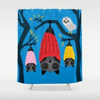 blankets Shower Curtains featuring Bats in Blankets by Oliver Lake