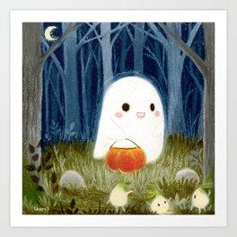 Little ghost and pumpkin Art Print