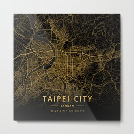 Taipei City, Taiwan - Gold Metal Print