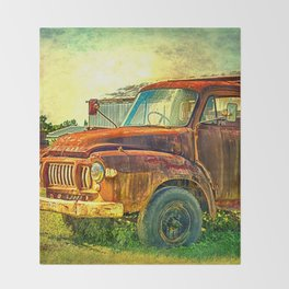Old Rusty Bedford Truck Throw Blanket