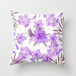 Watercolor lavender lilac brown modern floral Throw Pillow